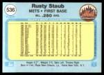 1982 Fleer #536  Rusty Staub  Back Thumbnail