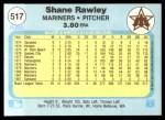 1982 Fleer #517  Shane Rawley  Back Thumbnail
