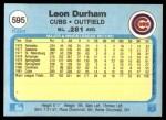 1982 Fleer #595  Leon Durham  Back Thumbnail
