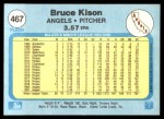 1982 Fleer #467  Bruce Kison  Back Thumbnail