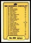 1982 Fleer #655   Royals / Braves Checklist Front Thumbnail