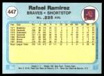 1982 Fleer #447  Rafael Ramirez  Back Thumbnail