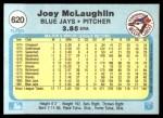 1982 Fleer #620  Joey McLaughlin  Back Thumbnail