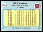 1982 Fleer #444  Phil Niekro  Back Thumbnail