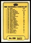 1982 Fleer #656   Angels / Pirates Checklist Front Thumbnail