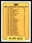 1982 Fleer #656   Angels / Pirates Checklist Back Thumbnail