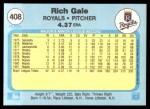1982 Fleer #408  Rich Gale  Back Thumbnail