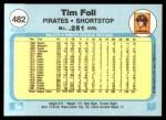1982 Fleer #482  Tim Foli  Back Thumbnail