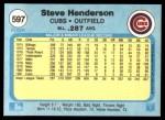 1982 Fleer #597  Steve Henderson  Back Thumbnail