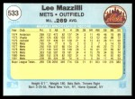 1982 Fleer #533  Lee Mazzilli  Back Thumbnail