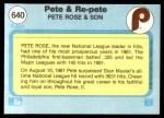 1982 Fleer #640   -  Pete Rose / Pete Rose Jr Pete and Re-Pete Back Thumbnail