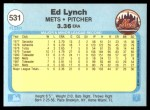 1982 Fleer #531  Ed Lynch  Back Thumbnail