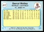 1982 Fleer #417  Darryl Motley  Back Thumbnail