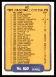 1982 Fleer #650   Expos / Orioles Checklist Back Thumbnail