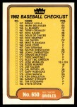 1982 Fleer #650   Expos / Orioles Checklist Front Thumbnail