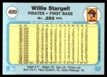 1982 Fleer #499  Willie Stargell  Back Thumbnail