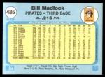 1982 Fleer #485  Bill Madlock  Back Thumbnail