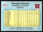 1982 Fleer #435  Preston Hanna  Back Thumbnail