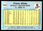 1982 Fleer #426  Frank White  Back Thumbnail