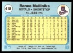 1982 Fleer #418  Rance Mulliniks  Back Thumbnail