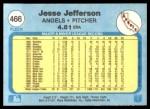 1982 Fleer #466  Jesse Jefferson  Back Thumbnail