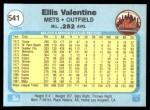 1982 Fleer #541  Ellis Valentine  Back Thumbnail