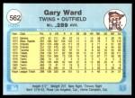 1982 Fleer #562  Gary Ward  Back Thumbnail