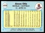 1982 Fleer #419  Amos Otis  Back Thumbnail