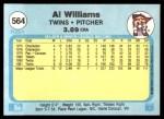 1982 Fleer #564  Al Williams  Back Thumbnail