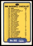 1982 Fleer #652   Tigers / Red Sox Checklist Front Thumbnail