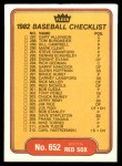 1982 Fleer #652   Tigers / Red Sox Checklist Back Thumbnail