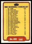 1982 Fleer #659   Blue Jays / Cubs Checklist Front Thumbnail