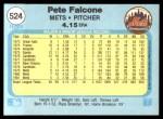 1982 Fleer #524  Pete Falcone  Back Thumbnail
