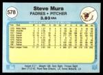 1982 Fleer #578  Steve Mura  Back Thumbnail
