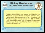 1982 Fleer #643   -  Rickey Henderson In Action Back Thumbnail