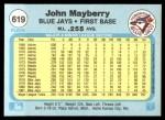 1982 Fleer #619  John Mayberry  Back Thumbnail