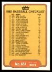 1982 Fleer #657   Mariners / Mets Checklist Back Thumbnail