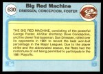 1982 Fleer #630   -  Dave Concepcion / George Foster / Dan Driessen Big Red Machine Back Thumbnail