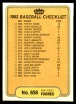 1982 Fleer #658   Padres / Twins Checklist Back Thumbnail