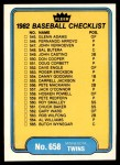 1982 Fleer #658   Padres / Twins Checklist Front Thumbnail