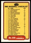 1982 Fleer #649   Cards / Brewers Checklist Front Thumbnail