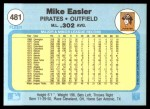 1982 Fleer #481  Mike Easler  Back Thumbnail