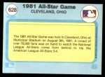1982 Fleer #628   1981 All Star Game Back Thumbnail