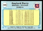 1982 Fleer #445  Gaylord Perry  Back Thumbnail