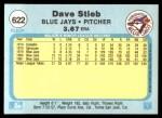 1982 Fleer #622  Dave Stieb  Back Thumbnail