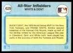 1982 Fleer #629   -  Frank White / Bucky Dent All Star Infielders Back Thumbnail