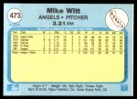 1982 Fleer #473  Mike Witt  Back Thumbnail