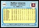 1982 Fleer #439  Rufino Linares  Back Thumbnail