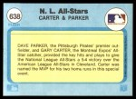 1982 Fleer #638  Gary Carter  /  Dave Parker  Back Thumbnail