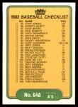 1982 Fleer #648   A's / Reds Checklist Back Thumbnail